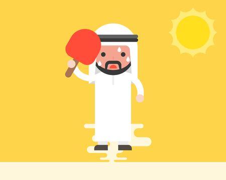 Illustration pour Arab Businessman using handheld fan because very hot weather under sunlight, summer theme, flat design - image libre de droit