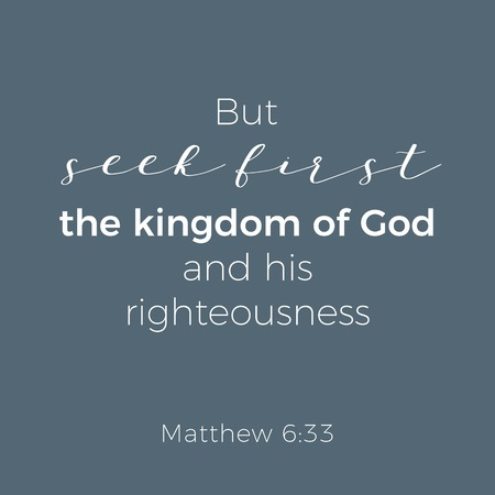 Illustration pour Biblical phrase from matthew gospel, but seek first the kingdom of god, typography for print or use as poster, flyer, t shirt - image libre de droit