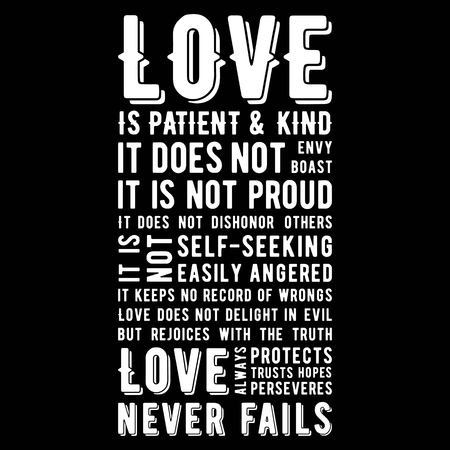 Illustration pour Biblical phrase from 1 corinthians 13:8, love never fails, typography design for use as printing poster, flyer or t shirt - image libre de droit