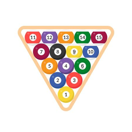Ilustración de Sequence Billiard ball with numbers in triangular frame icon, flat design - Imagen libre de derechos