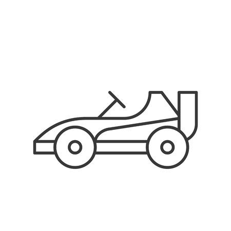 Ilustración de Go kart or Racing car vector icon, amusement park related line design - Imagen libre de derechos