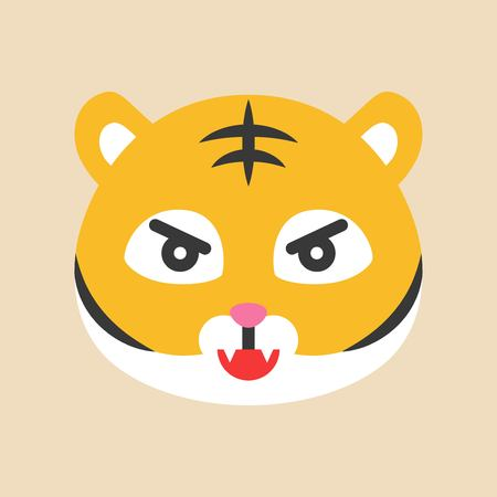 Ilustración de Cute Tiger emoticon, flat design vector illustration - Imagen libre de derechos