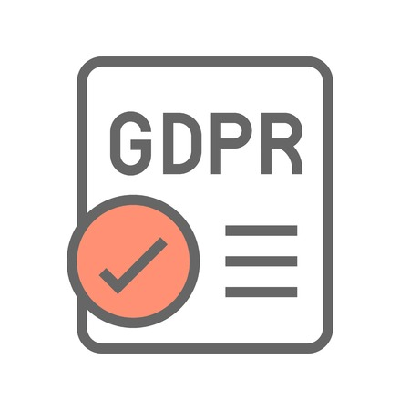 Illustration pour GDPR General Data Protection Regulation icon, filled style editable stroke - image libre de droit