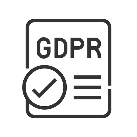 Illustration pour GDPR General Data Protection Regulation icon, line design - image libre de droit