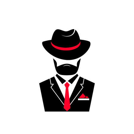 Illustrazione per Bearded man in a hat and in a jacket with a tie. Gentleman logo in mafia style for male store, a barber shop - Immagini Royalty Free