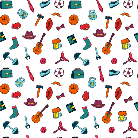 Illustrazione per Father`s Day holiday seamless pattern in doodle style. Men`s lifestyle, sports equipment, clothes and accessories - Immagini Royalty Free