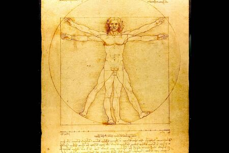 Photo pour A copy of the picture of Leonardo da Vinci people in the circle. - image libre de droit