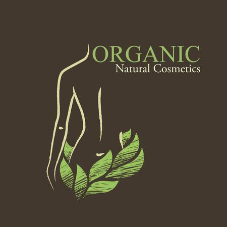 Ilustración de Natural / organic cosmetics emblems. Handdrawn ecodesign with contoured woman's shape and green leaves - Imagen libre de derechos