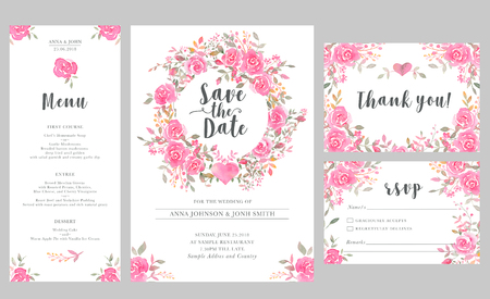 Photo for Set of wedding invitation card templates with watercolor rose flowers. Elegant romantic layout with pink roses and message for wedding greeting, Save the date cards, rsvp, menu, thank you - Royalty Free Image