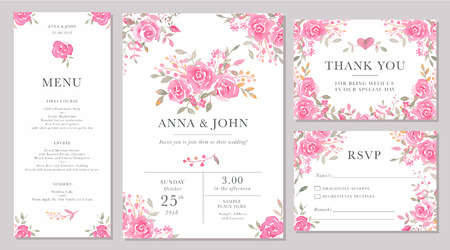 Illustration for Set of wedding invitation card templates with watercolor rose flowers. Elegant romantic layout with pink roses and message for wedding greeting, Save the date cards, rsvp, menu, thank you - Royalty Free Image