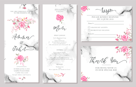 Ilustración de Set of wedding invitation card templates with watercolor rose flowers. Elegant romantic layout with pink roses and message for wedding greeting, Save the date cards, rsvp, menu, thank you - Imagen libre de derechos