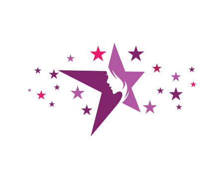 Illustration pour Beautiful woman on a star  logo concept design template. - image libre de droit