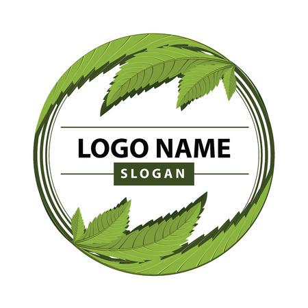 Ilustración de medical marijuana, cannabis green leaf logo. vector illustration. - Imagen libre de derechos