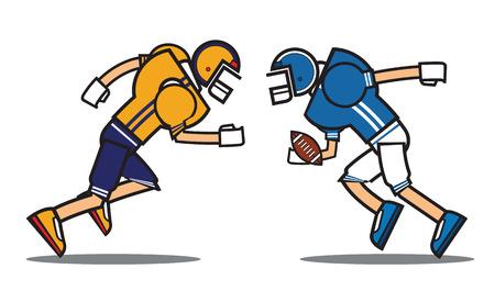 football player cartoon character. Rugby. American football. vector illustration.