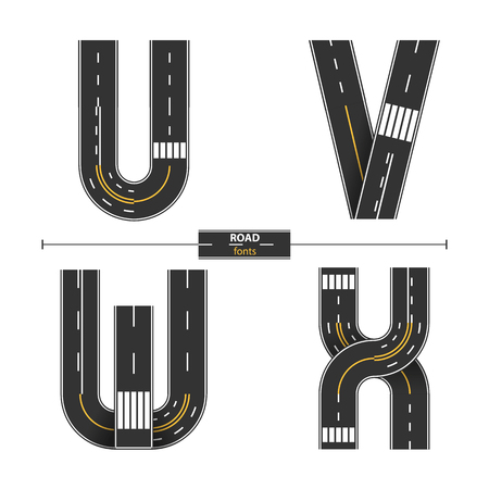 Illustration pour Alphabet in a set 'U,V,W,X'. Road with white and yellow line markings on white background - image libre de droit