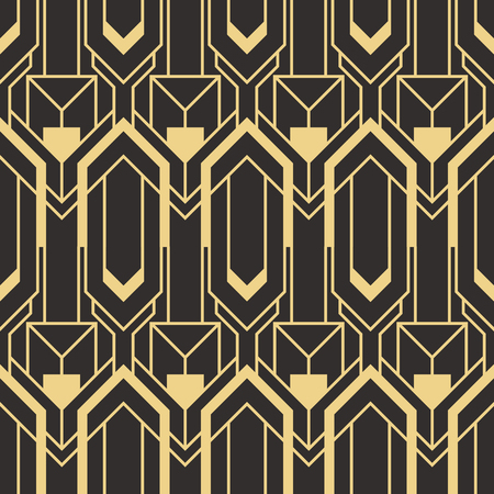 Illustration pour Vector modern geometric tiles pattern. golden lined shape. Abstract art deco seamless luxury background. - image libre de droit