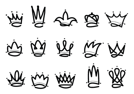 Illustration for Crown logo hand drawn icon. Black doodle elements isolated on white background. Vector illustration. - Royalty Free Image