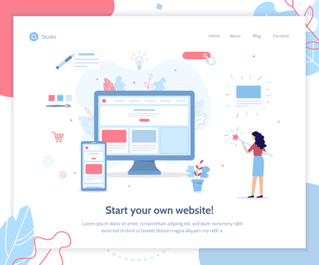 Illustration pour Start your own website. Web banner design template. Website builder concept. Flat vector illustration. - image libre de droit