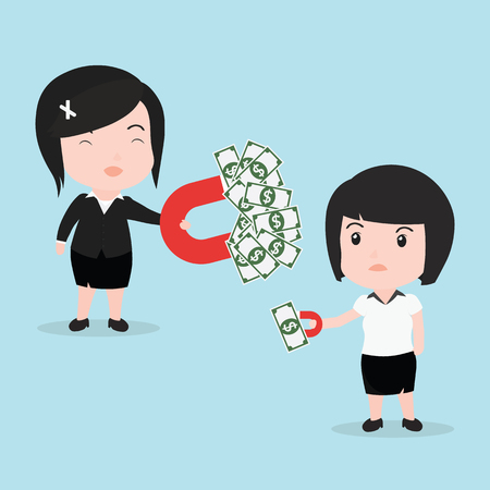 Business woman attracts money with a large magnet.