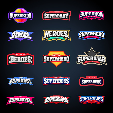 Ilustración de Sport emblem typography set. Super logo for your t-shirt. Mega logotype collection - Imagen libre de derechos