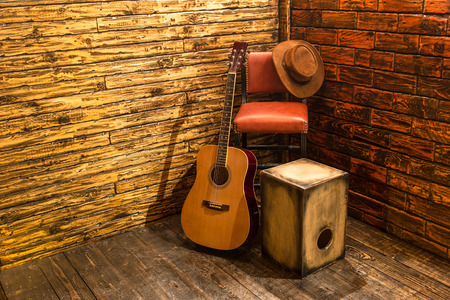 Photo for Music instruments on wooden stage - Royalty Free Image