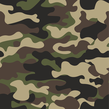 Ilustración de Camouflage seamless pattern background. Classic clothing style masking camo repeat print. Green brown black olive colors forest texture. Design element. Vector illustration. - Imagen libre de derechos