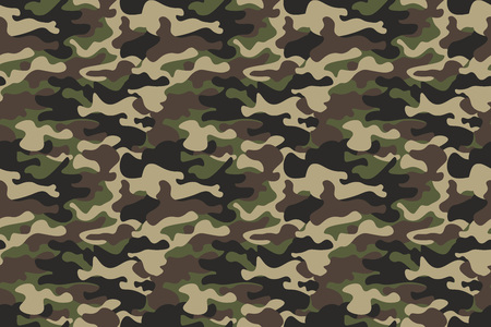 Ilustración de Camouflage seamless pattern background. Horizontal seamless banner. Classic clothing style masking camo repeat print. Green brown black olive colors forest texture. Design element. Vector - Imagen libre de derechos