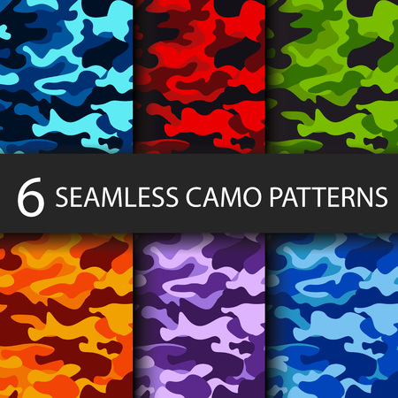Ilustración de Set of 6 pack Camouflage seamless patterns background with black shadow. Classic clothing style masking camo repeat print. Bright colors of forest texture. Vector illustration web design and clothes - Imagen libre de derechos