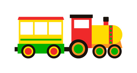 Illustration pour Cartoon toy train with colorful blocks isolated over white and toy train vector set. Toy train color railroad and cartoon carriage game toy train fun leisure joy gift. Locomotive transportation. - image libre de droit