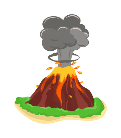 Illustration pour Volcano eruption stromboli with spectacular eruptions. Eruption crater mountain volcano hot natural eruption nature. Volcano erupt ash fire hill landscape outdoor geology eruption exploding ash. - image libre de droit