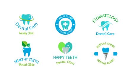 Illustration pour Dentist logo implants vector medical symbol collection. Clean dentist logo bright designs medical icon health care. Healthy hygiene dentist logo, oral blue logotype implant dent business shape. - image libre de droit