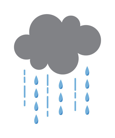 Illustration pour Vector illustration of cool single weather rain cloud icon. Rain cloud with raindrops in dark sky. Rain weather sky climate storm symbol cloud. Cold season water nature forecast element. - image libre de droit
