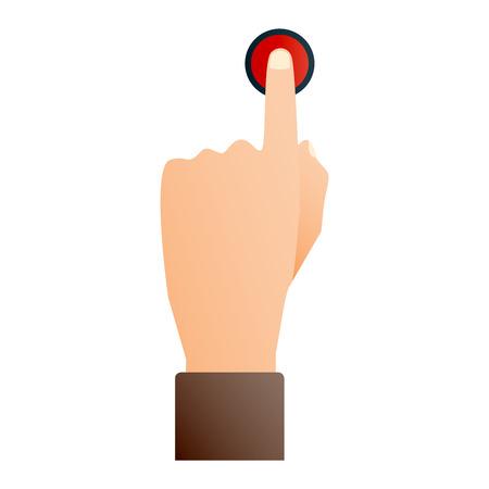 Illustration pour Hand press button finger press icon on white background. Finger control start up hands push button pointer cursor. Target gesture internet human hand push button touch concept one click. - image libre de droit