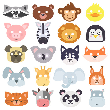 Photo pour Animals carnival mask vector set festival decoration masquerade. Party costume cute cartoon animals carnival mask. Festival head decoration isolated celebration animals carnival mask. - image libre de droit