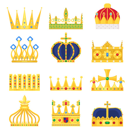 Illustration for Gold crown of the king icon set nobility majestic collection insignia and imperial prince vintage jewelry kingdom queen royal classic sign vector illustration. - Royalty Free Image