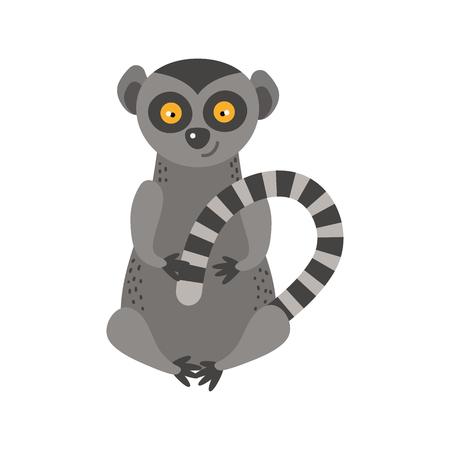 Illustration for Lemur monkey rare animal vector. - Royalty Free Image