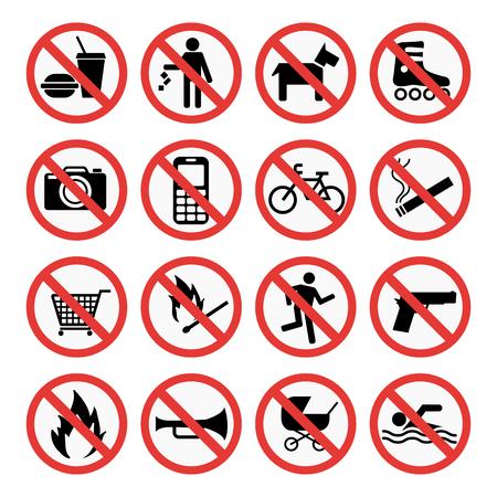 Illustration pour Prohibition signs set safety information vector illustration. - image libre de droit