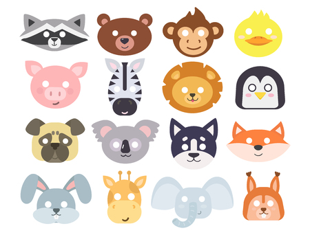 Illustration for Animals carnival mask vector set festival decoration masquerade and party costume cute cartoon head decor isolated celebration vector illustration. - Royalty Free Image