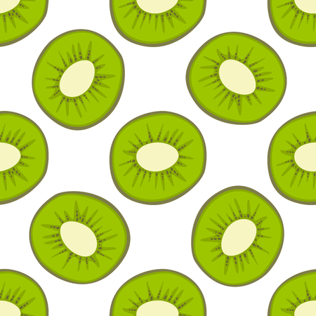 Ilustración de Cartoon fresh kiwi fruits in flat style seamless pattern food summer design vector illustration. - Imagen libre de derechos