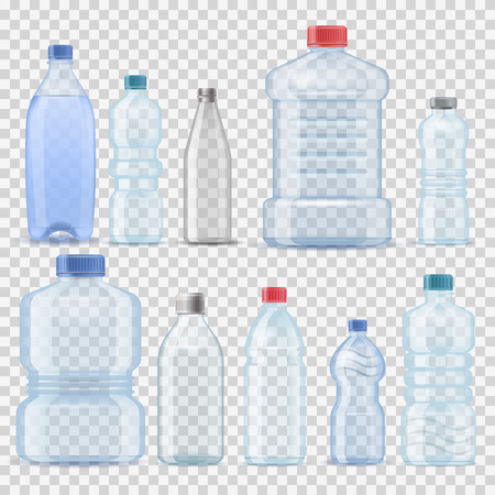 Ilustración de Transparent water plastic clean bottle 3d realistic container barrel gallon template set vector illustration company branding - Imagen libre de derechos