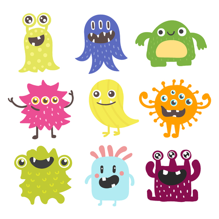 Illustration pour Funny cartoon monster cute alien character creature happy illustration devil colorful animal vector. - image libre de droit