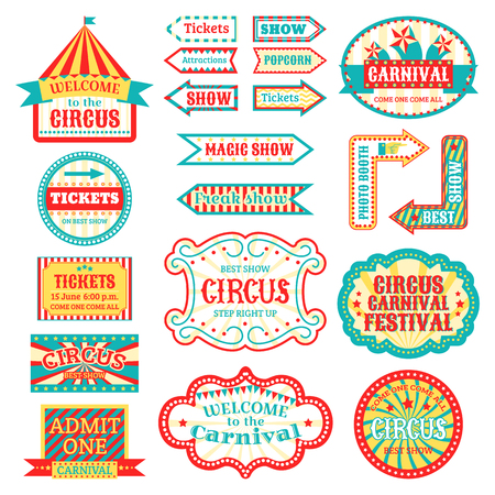 Illustration pour Circus vintage signboard labels banner vector illustration isolated on white entertaining banner sign - image libre de droit
