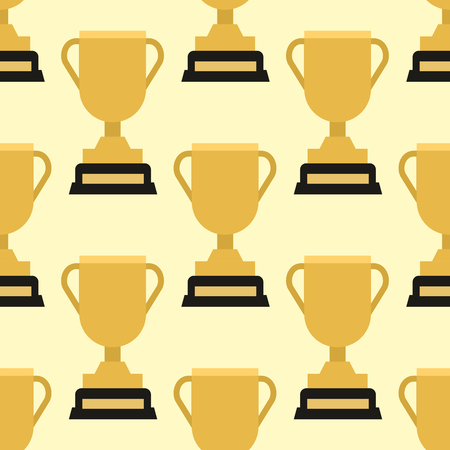 Illustration for Vector trophy champion cup seamless pattern winner gold award prize sport success best win golden illustration. - Royalty Free Image