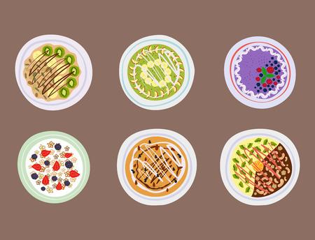 Illustration for Breakfast oatmeal porridge with berries top view tasty gourmet delicious vegetarian fresh eating morning dessert vector illustration. - Royalty Free Image