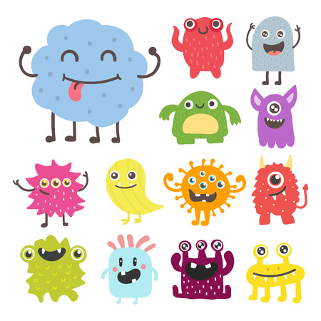 Ilustración de Funny cartoon monster cute alien character creature happy illustration devil colorful animal vector. - Imagen libre de derechos
