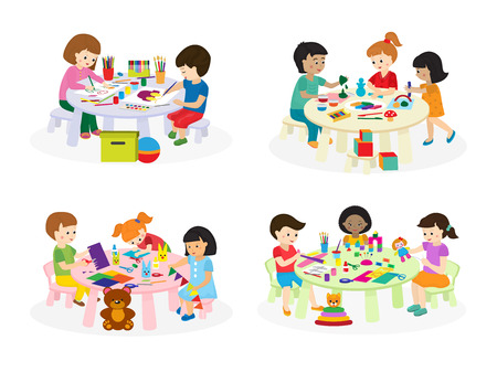 Illustrazione per Group of children painting on paper at table in kindergarten paint lesson kids characters club house vector illustration. - Immagini Royalty Free