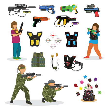 Illustration pour Laser tag fun game vector set in flat style gun optical tools people characters neon light weapon vector illustration. - image libre de droit