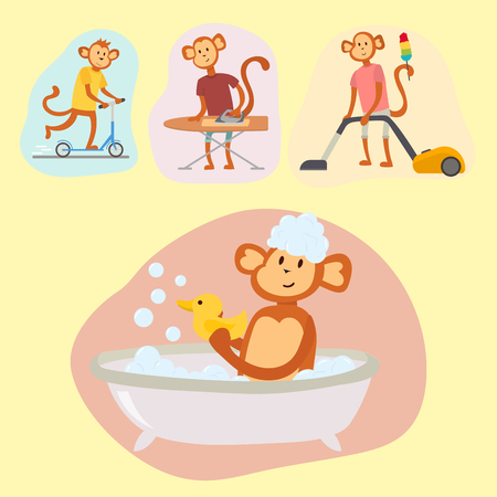 Illustration for Monkey cartoon suit person costume character chimpanzee happiness man flat vector illustration - Royalty Free Image