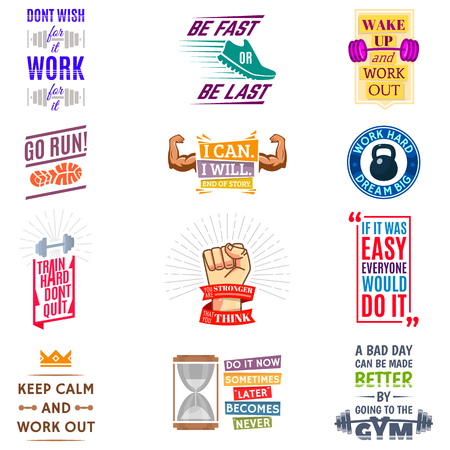 Ilustración de Running marathon logo badge emblems lmotivation phrases for sport maraphone runner vector illustration. - Imagen libre de derechos