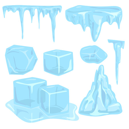 Illustration for Ice caps snowdrifts icicles elements arctic snowy cold water winter decor vector illustration. - Royalty Free Image